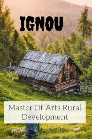 Master Of Arts Rural Development Books (MARD)